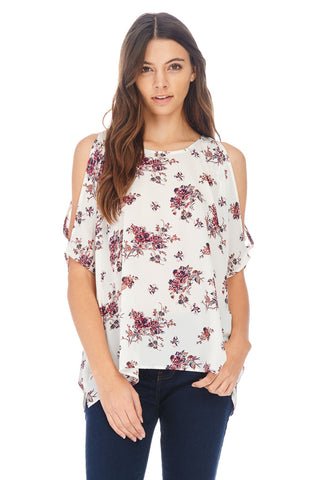 Ivory Floral Cold Shoulder Top - stylebookcloset