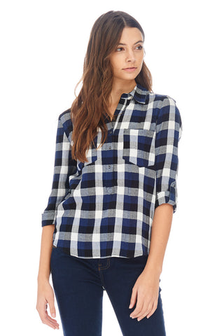 Plaid Collared Top - stylebookcloset