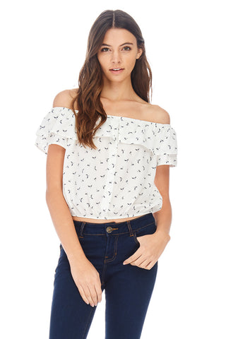 Navy Dragonfly Off The Shoulder Crop Top - stylebookcloset