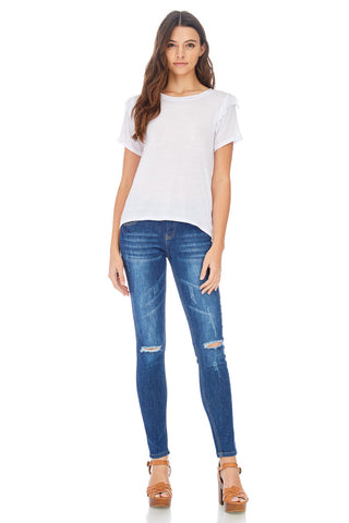 SL-Distressed Rip Knee Skinny Jeans-Limited Edition - stylebookcloset