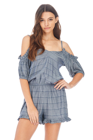 Ruffled Cold Shoulder Romper - stylebookcloset