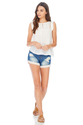 Scallop Crochet Denim Shorts