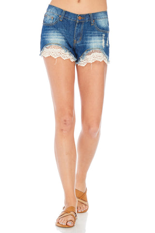 Crochet Detail Embellished Denim Shorts
