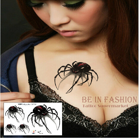 3D Black Spider Temporary Tattoo - Waterproof