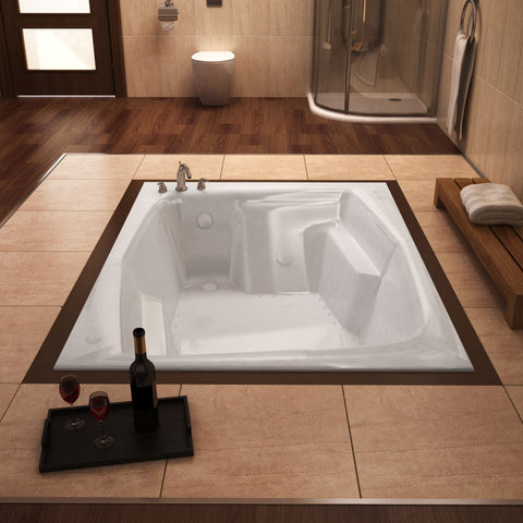 Venzi Caresse 72x54 2-person Drop-in Rectangular Acrylic Air Bathtub, Left Drain (5472CAL/R)