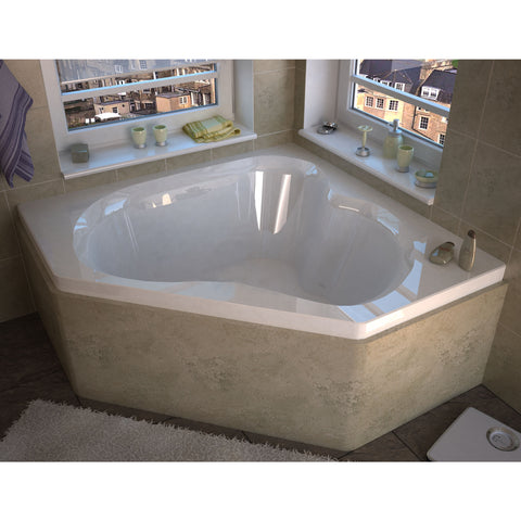 Venzi Cascade 60x60 2-person Drop-in Corner Oval Acrylic Air Bathtub, Center Drain (6060CAL/R)