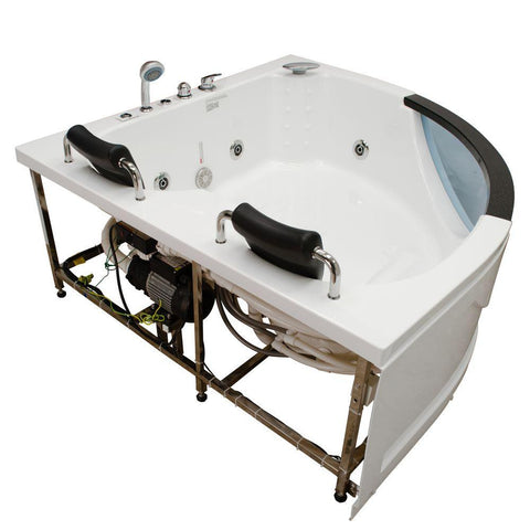 Steam Planet Chelsea 5' 2-person Corner Acrylic Whirlpool Bathtub, Glass Front, Center Drain (M-G015)