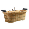 "Image of ALFI AB1130 65"" 2 Person Free Standing Cedar Wooden Bathtub w/ Fixtures & Headrests"