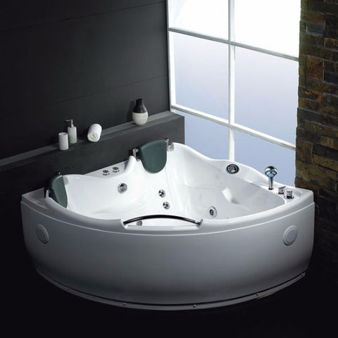 EAGO 5' 2-person Corner Acrylic White Whirlpool Bathtub (AM125)