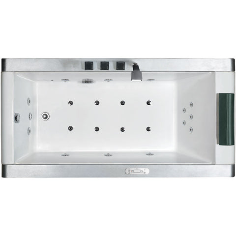 EAGO 6' Freestanding White Acrylic Whirlpool Bathtub with LED Side Panel (AM151-L)