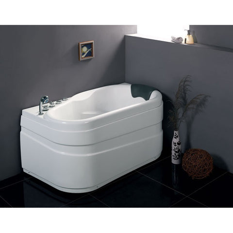 EAGO 5' 1-person Corner White Acrylic Whirlpool Bathtub, Left Drain (AM175-L)