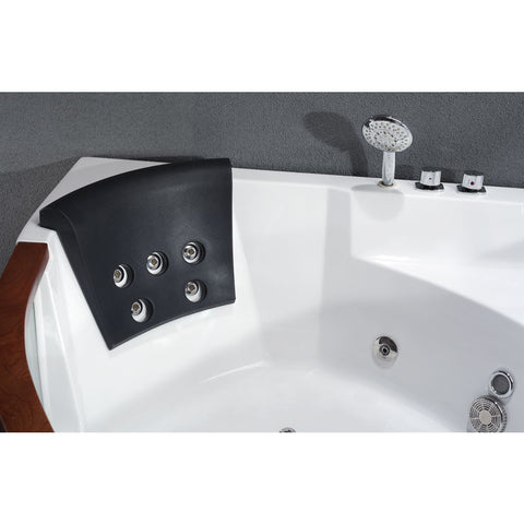 EAGO 5' Clear Sided White Acrylic Modern Corner Whirlpool Bathtub for Two (AM197)