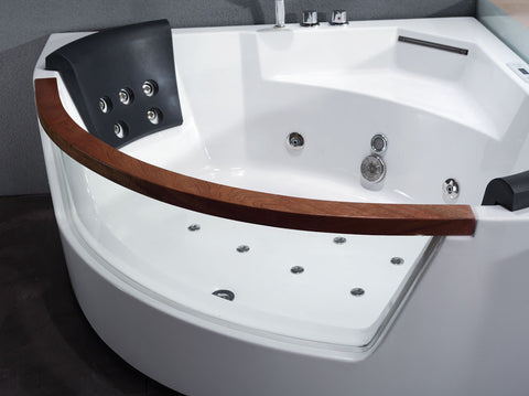 EAGO AM197ETL 5ft. Two Person Clear Sided White Acrylic Corner Whirlpool Bathtub