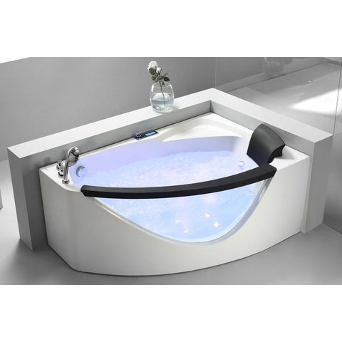 EAGO 5' Left Drain White Acrylic Clear-Sided Modern Corner Whirlpool Bath Tub (AM198-L)