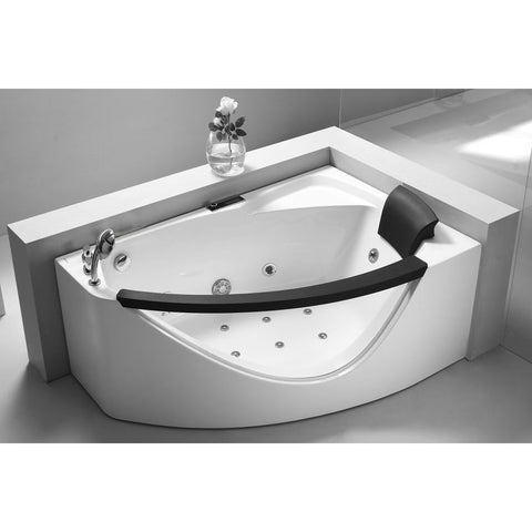 EAGO 5' Left Drain Rounded Clear-Sided Modern Corner Whirlpool Bath Tub (AM198-L)