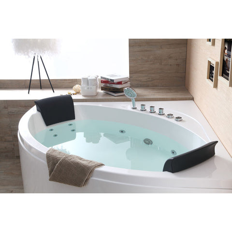 EAGO 5' 2-person Corner Acrylic Whirlpool Bathtub, Front Drain (AM200)