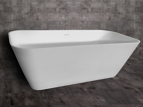 "ALFI AB 9952 67"" White Rectangular Solid Surface Smooth Resin Soaking Tub"