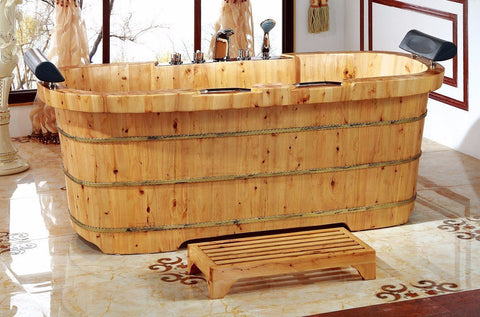 "ALFI AB1130 65"" 2 Person Free Standing Cedar Wooden Bathtub w/ Fixtures & Headrests"