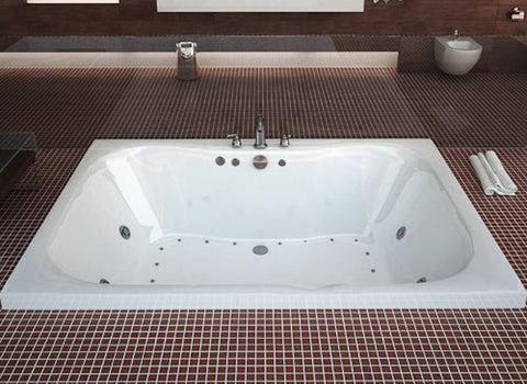 "Atlantis Atlantis Neptune 60"" x 40"" 2-Person Rectangular White Acrylic Air & Whirlpool Jetted Bathtub , Center Drain (4060NDL/R) Modern Spa Tubs"