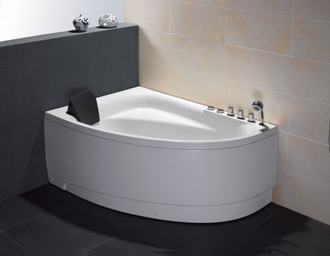 EAGO AM161 5ft Corner White Acrylic Whirlpool Bathtub