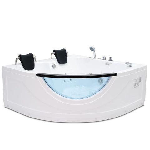 Steam Planet Chelsea 5' 2-person Corner Acrylic Glass Front Whirlpool Bathtub