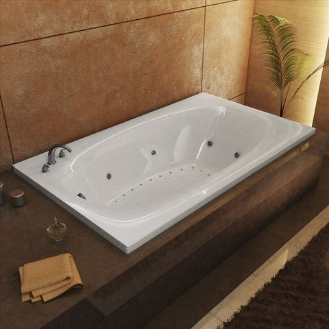 "Atlantis Atlantis Polaris 72"" x 42"" Rectangular White Acrylic Air & Whirlpool Combo Bathtub, Left Drain (4272PDL) Modern Spa Tubs"