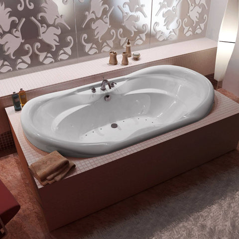 "Venzi Indulgence 70"" x 41"" Drop-in Oval White Acrylic Air Bathtub, Center Drain (4170IAL/R)"