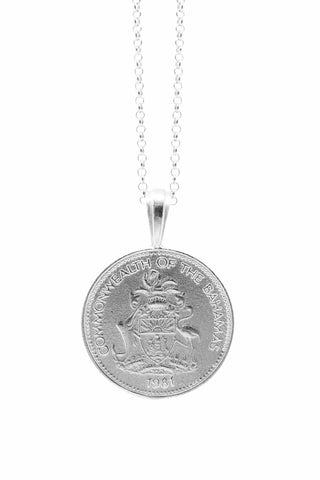 THE BAHAMAS Pineapple Coin Necklace in Silver