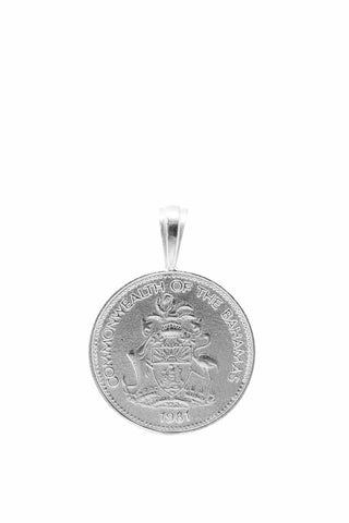 The BAHAMAS Pineapple Coin Pendant in Silver