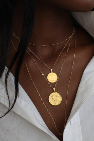 THE CLEOPATRA Coin Necklace with Pearls
