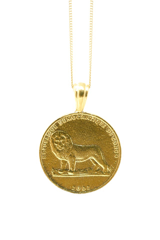 THE ETHIOPIAN Lion Coin Pendant in Silver