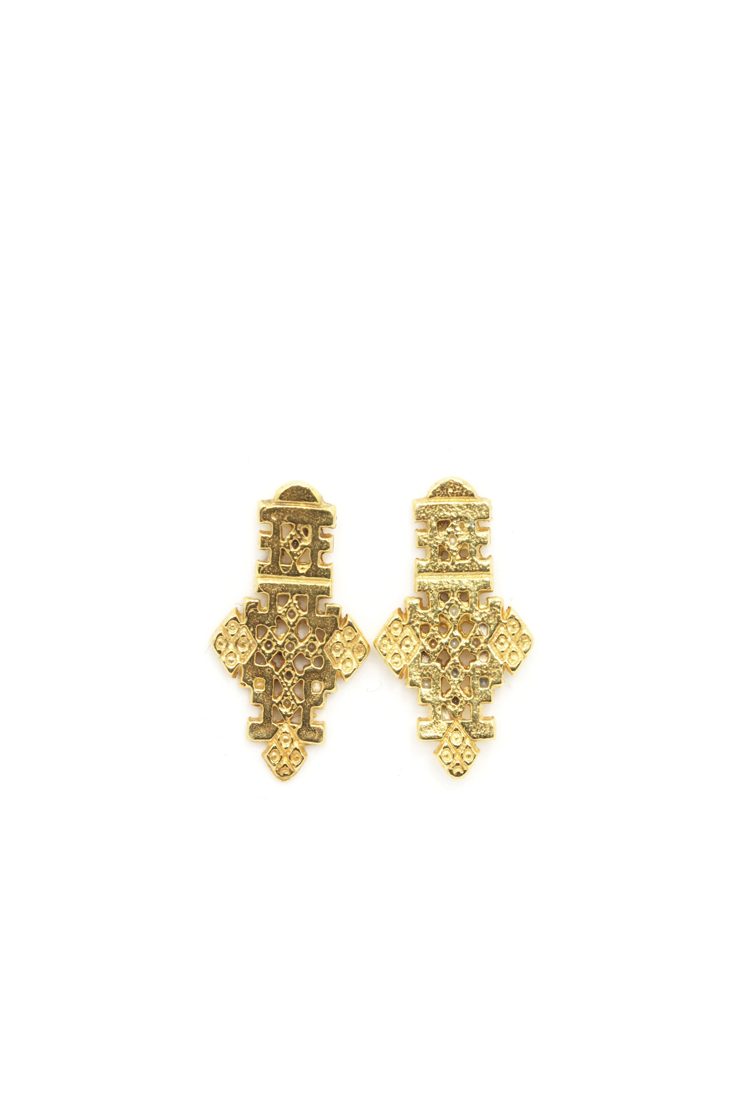 THE ETHIOPIAN Coptic Cross Stud Earrings Sterling Silver