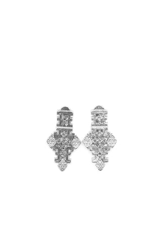 THE ETHIOPIAN Axumite Coptic Cross Stud Earrings Sterling Silver