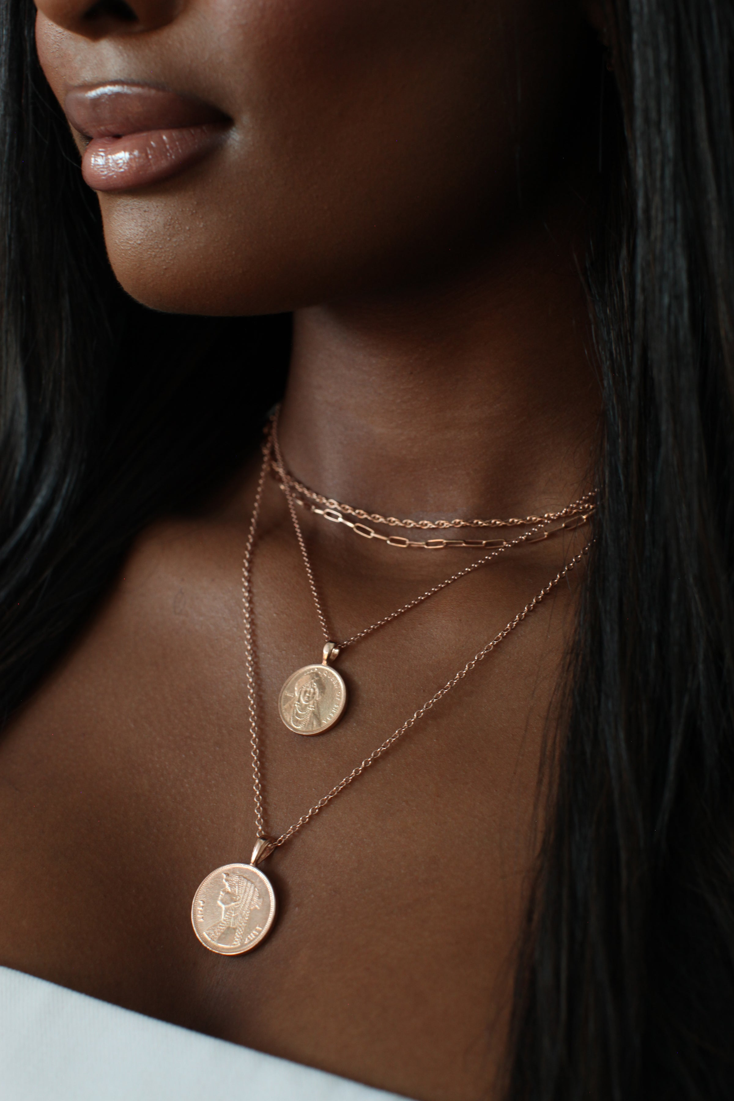 THE DOUBLE Up Coin Necklace Stack V in Rose Gold