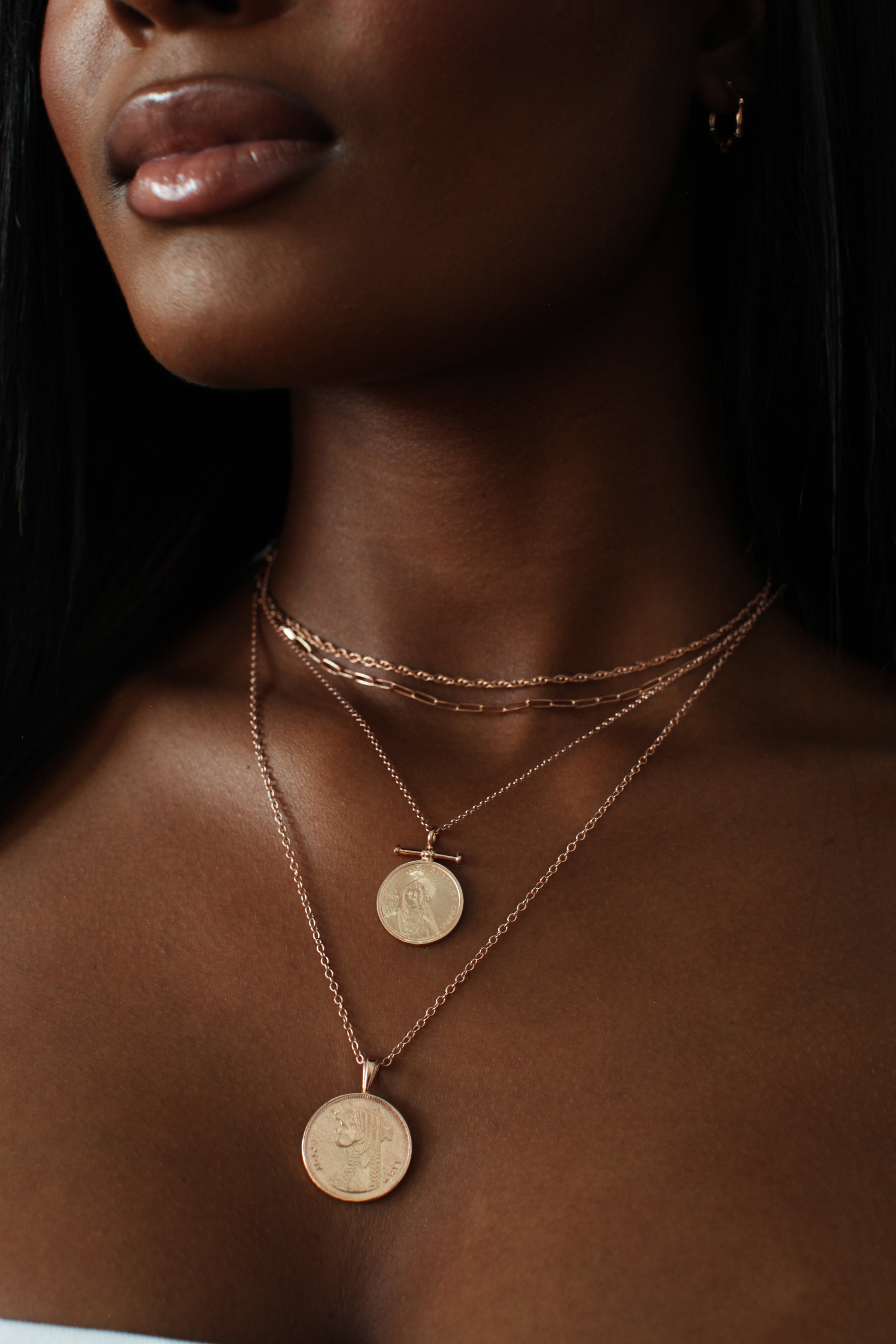 THE DOUBLE Up Coin Necklace Stack VI in Rose Gold