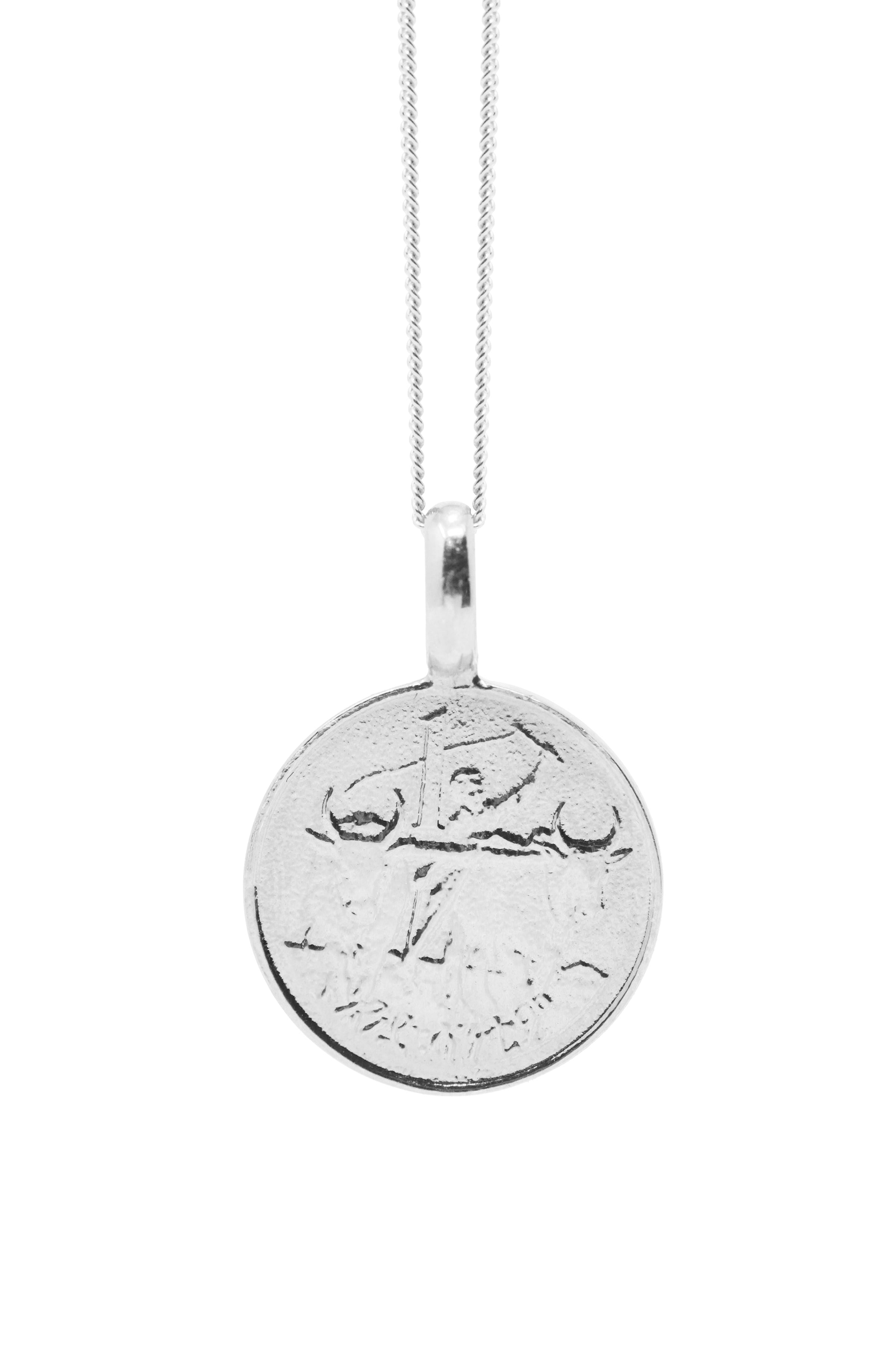 THE ETHIOPIA Lion Coin Necklace in Silver