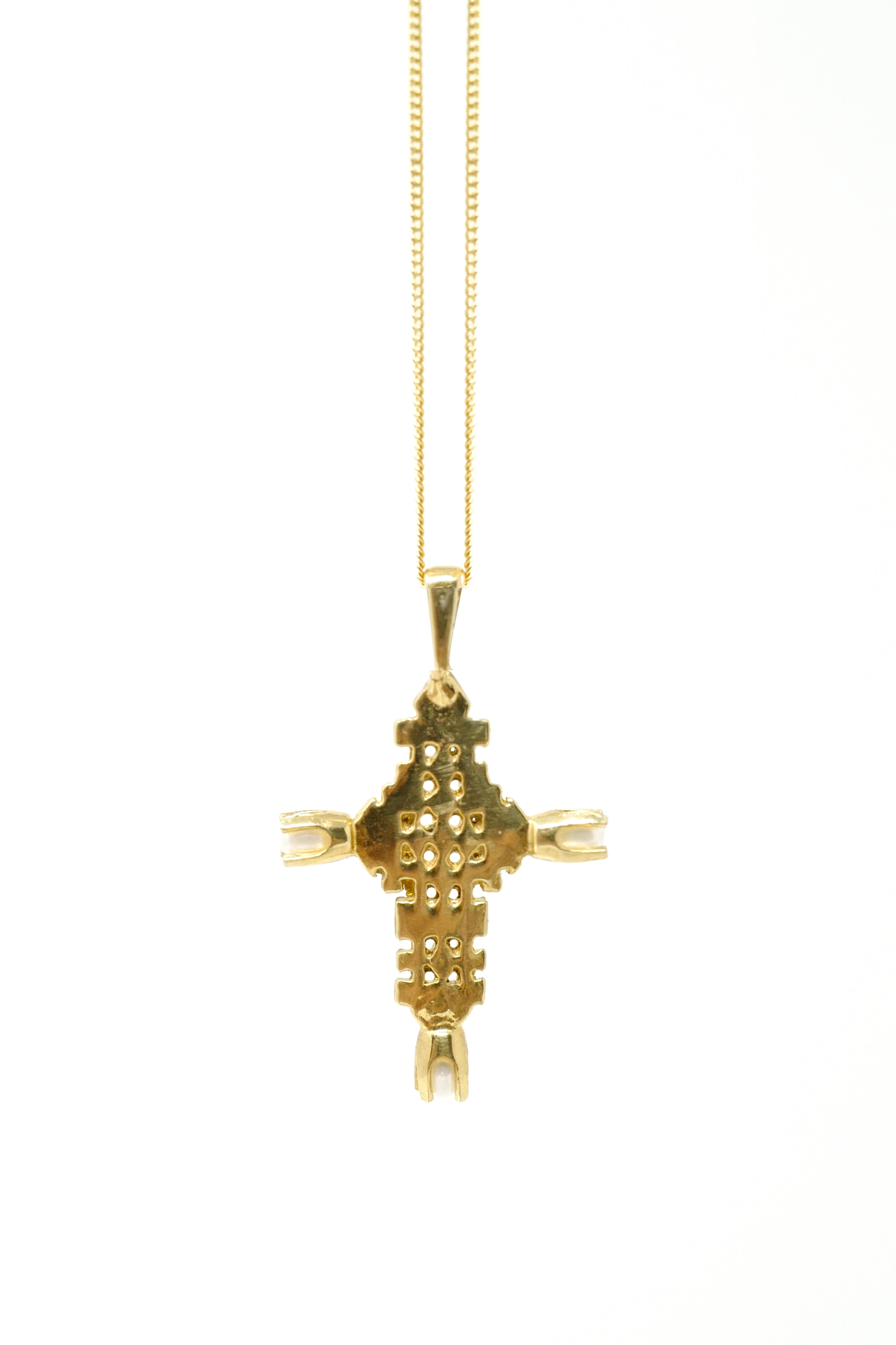 THE ETHIOPIAN Coptic Cross Necklace with Pearls