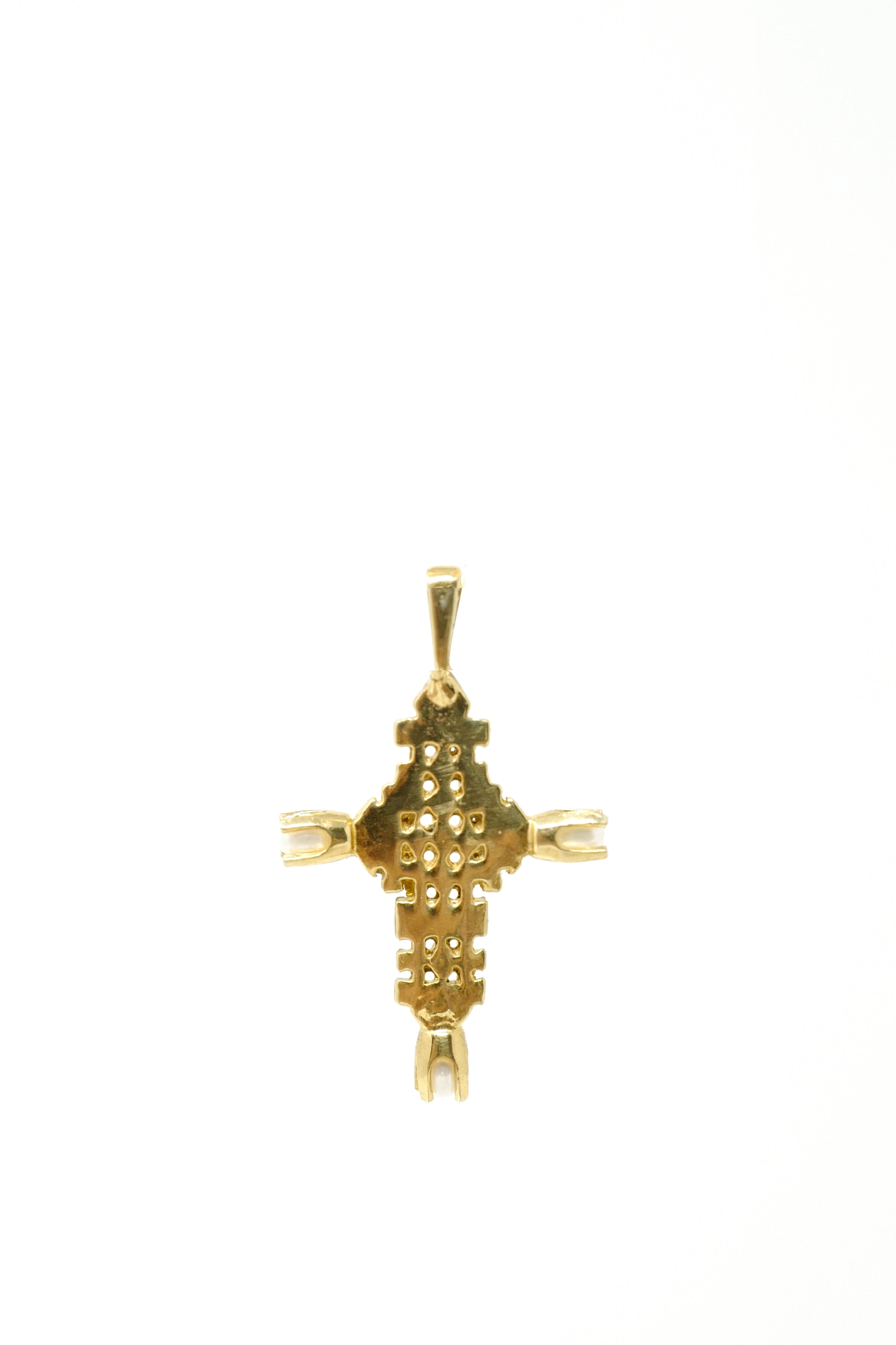 THE ETHIOPIAN Coptic Cross Pendant with Pearls