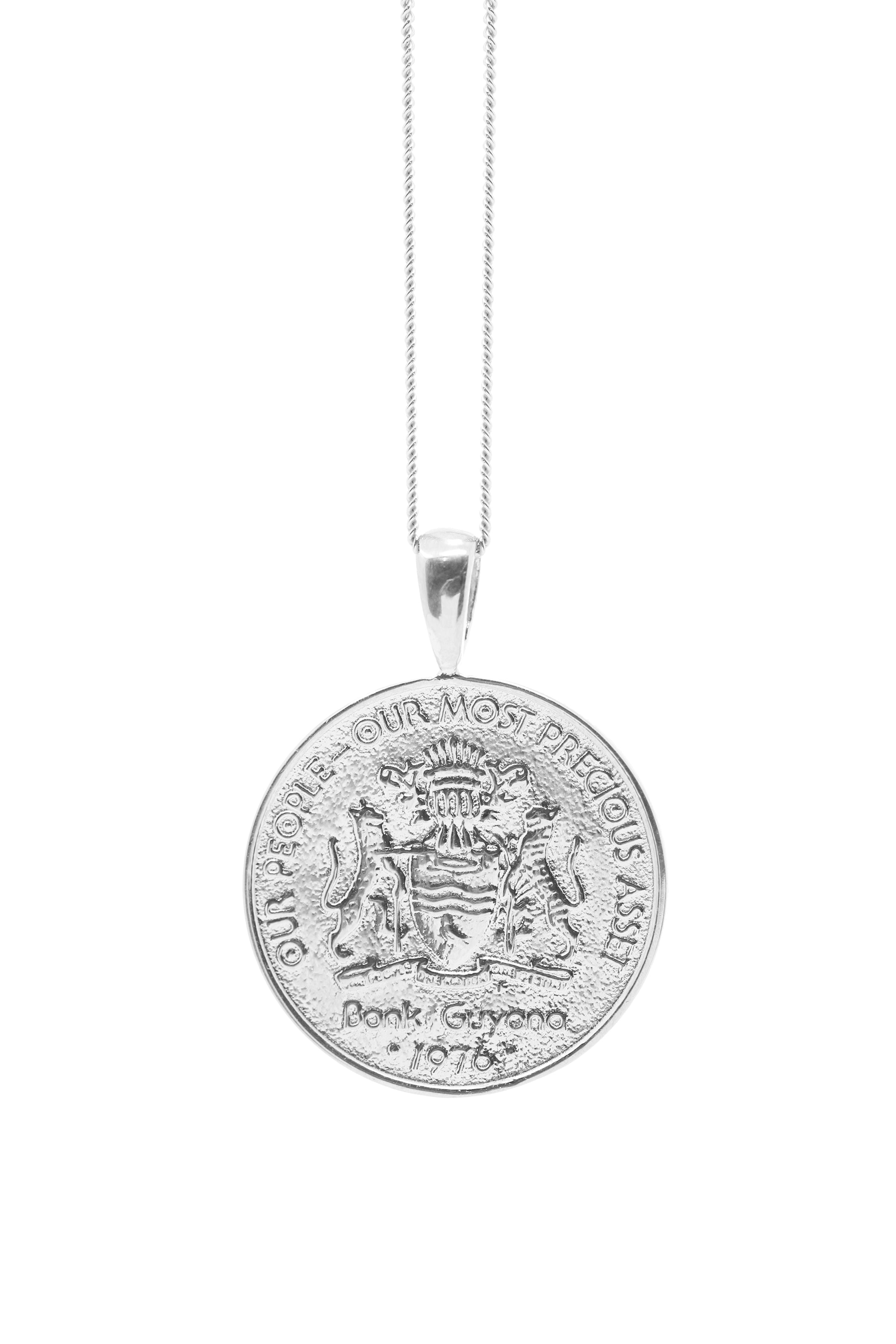 THE GUYANA Jaguar Coin Necklace in Silver