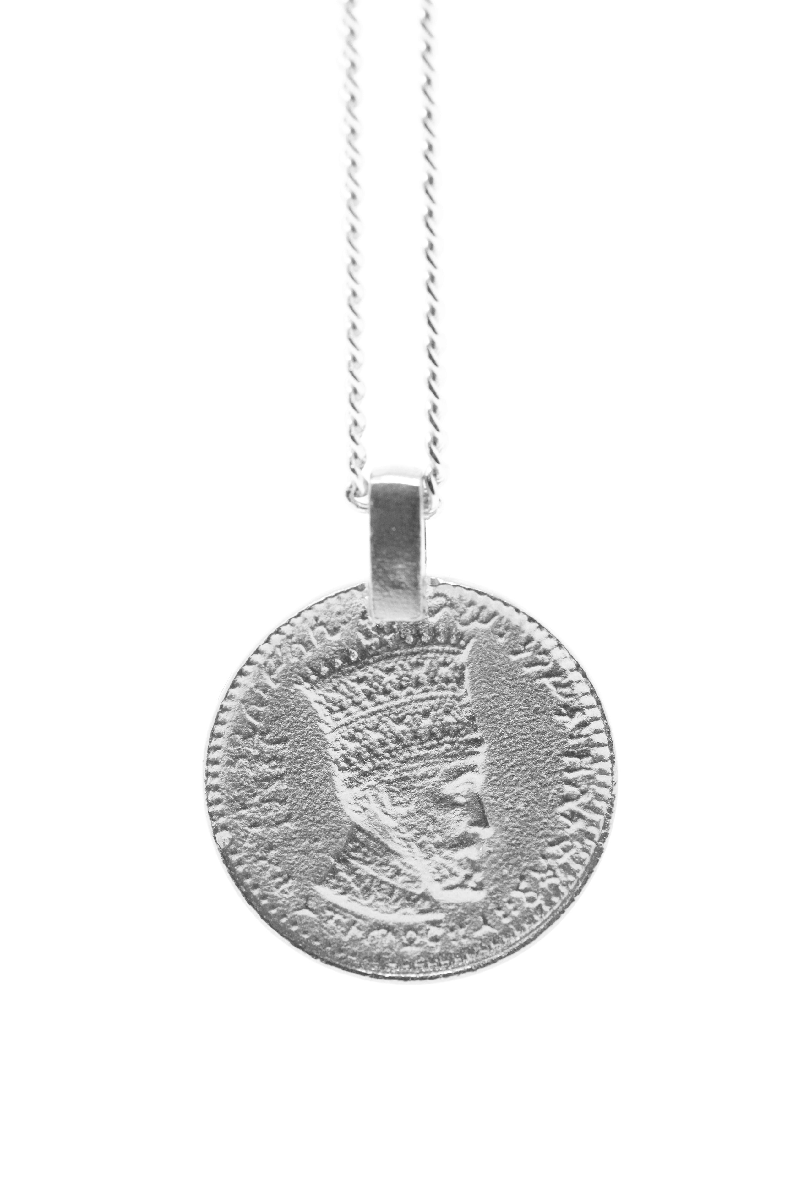 THE HAILE Selassie Coin Necklace Sterling Silver
