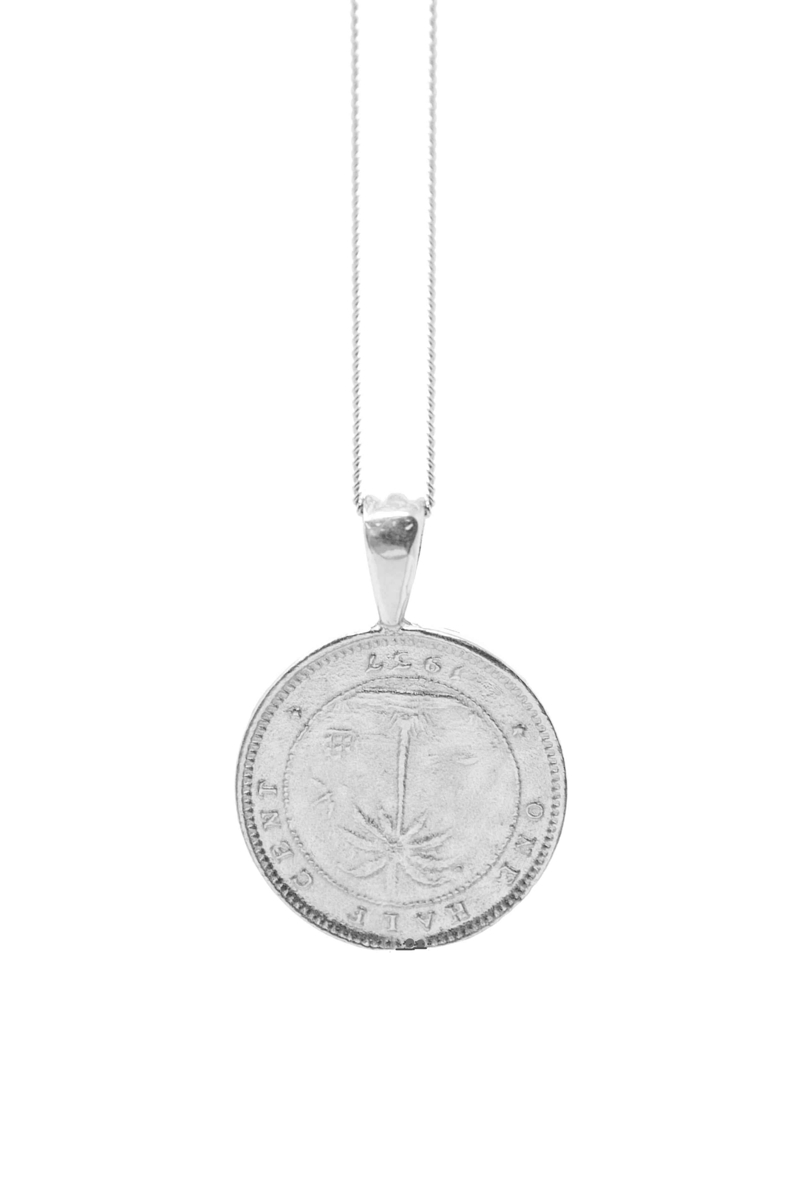 THE LIBERIA Coin Necklace in Silver