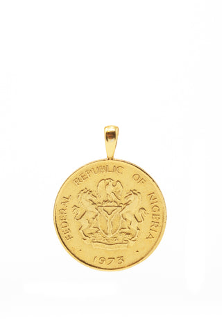 THE NIGERIA Crest and Palm Coin Pendant