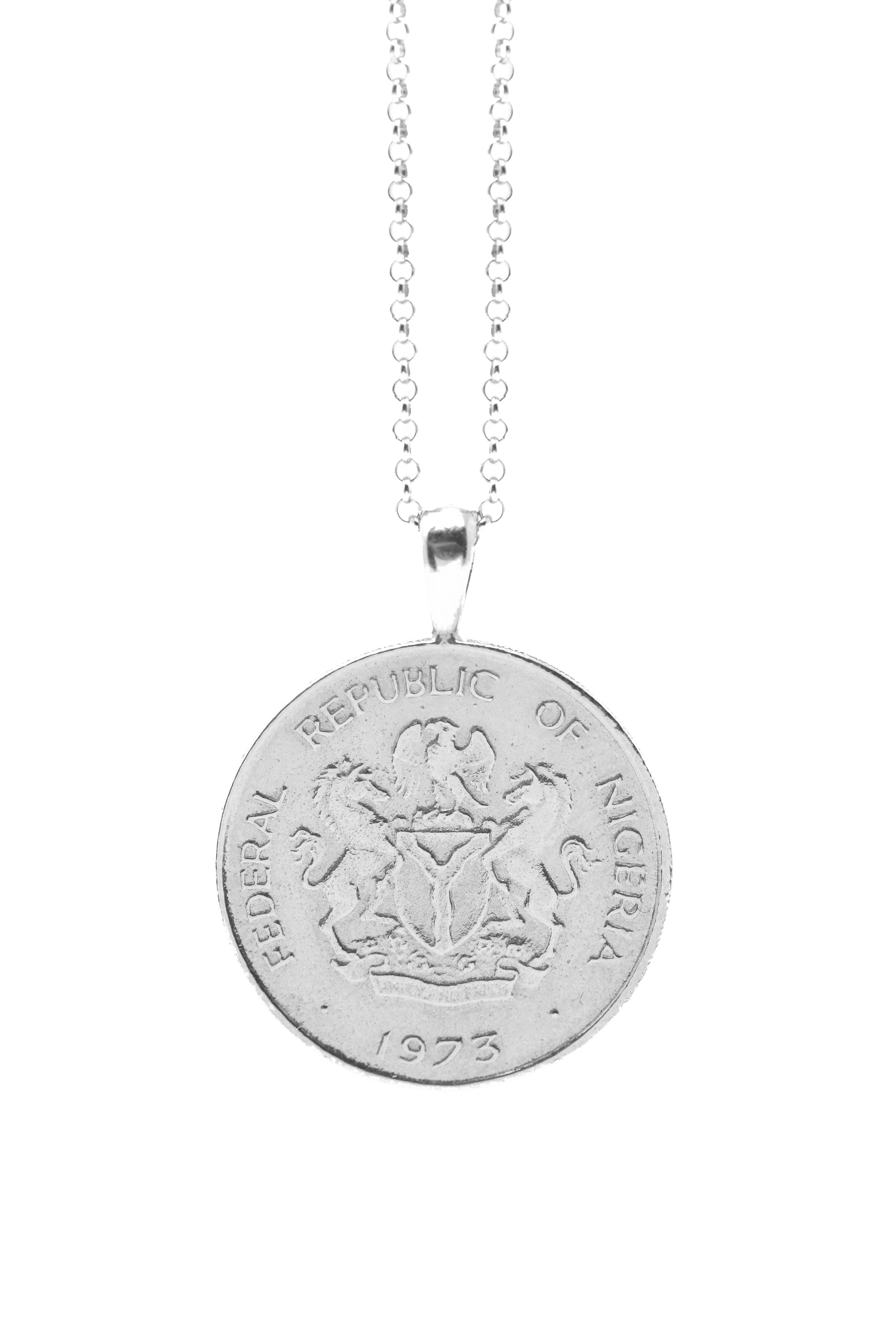 THE NIGERIA Crest and Palm Coin Necklace in Silver