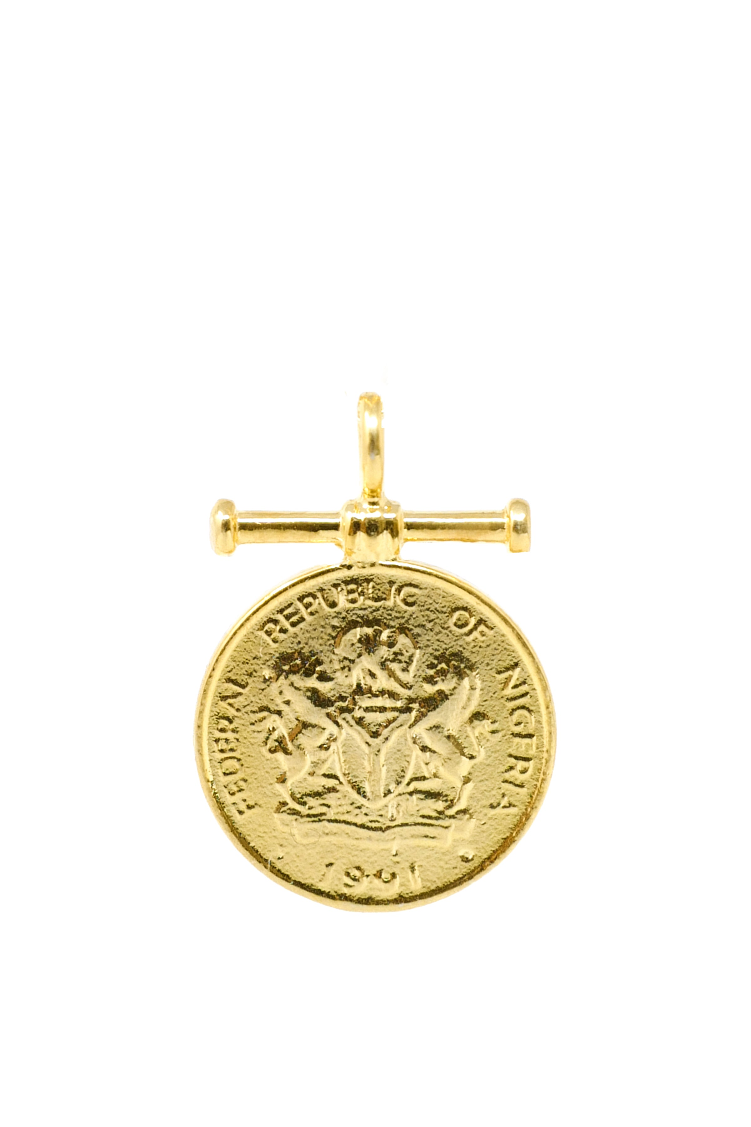THE NIGERIA Classic Kobo Coin Pendant with Bar