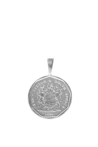 THE SOUTH Africa Lily Coin Pendant in Silver