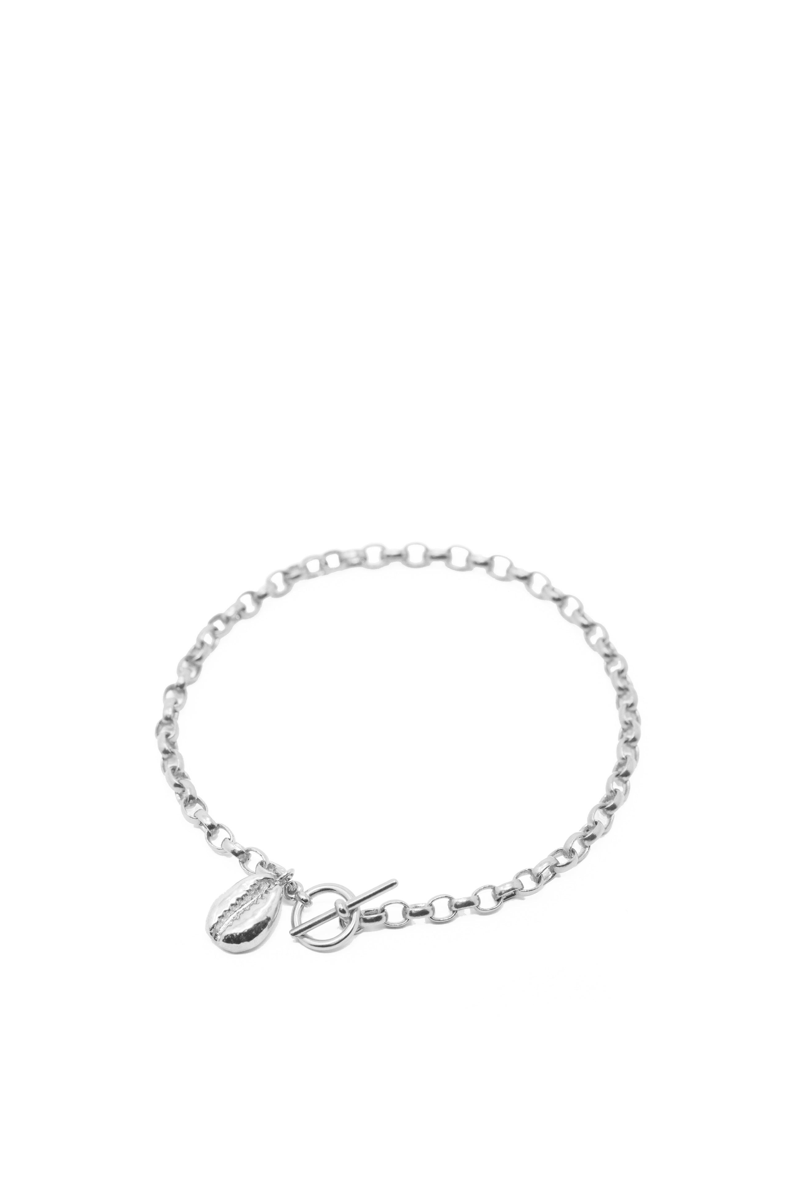 THE TOGGLE II Anklet with Cowrie Pendant in Silver