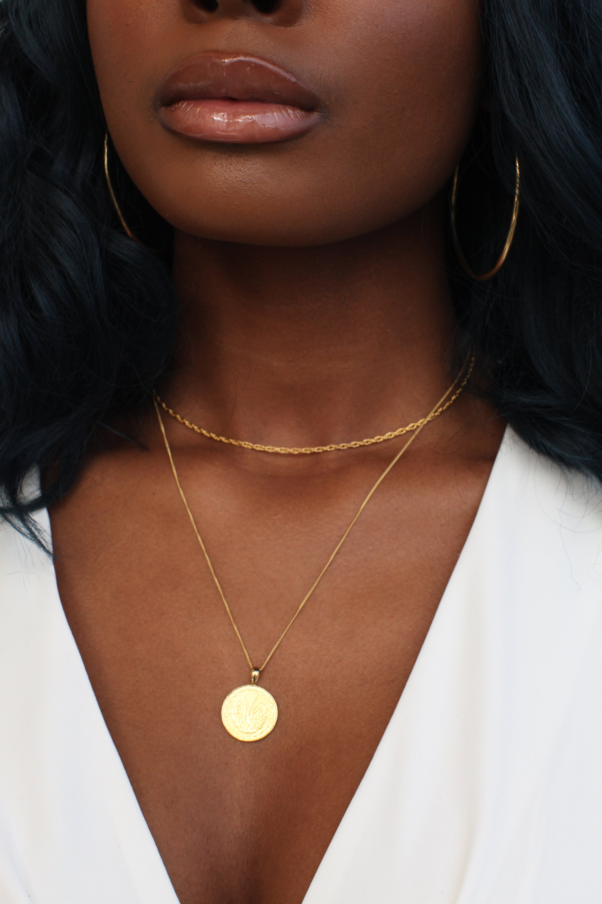 THE WEST African Coin Necklace in Silver