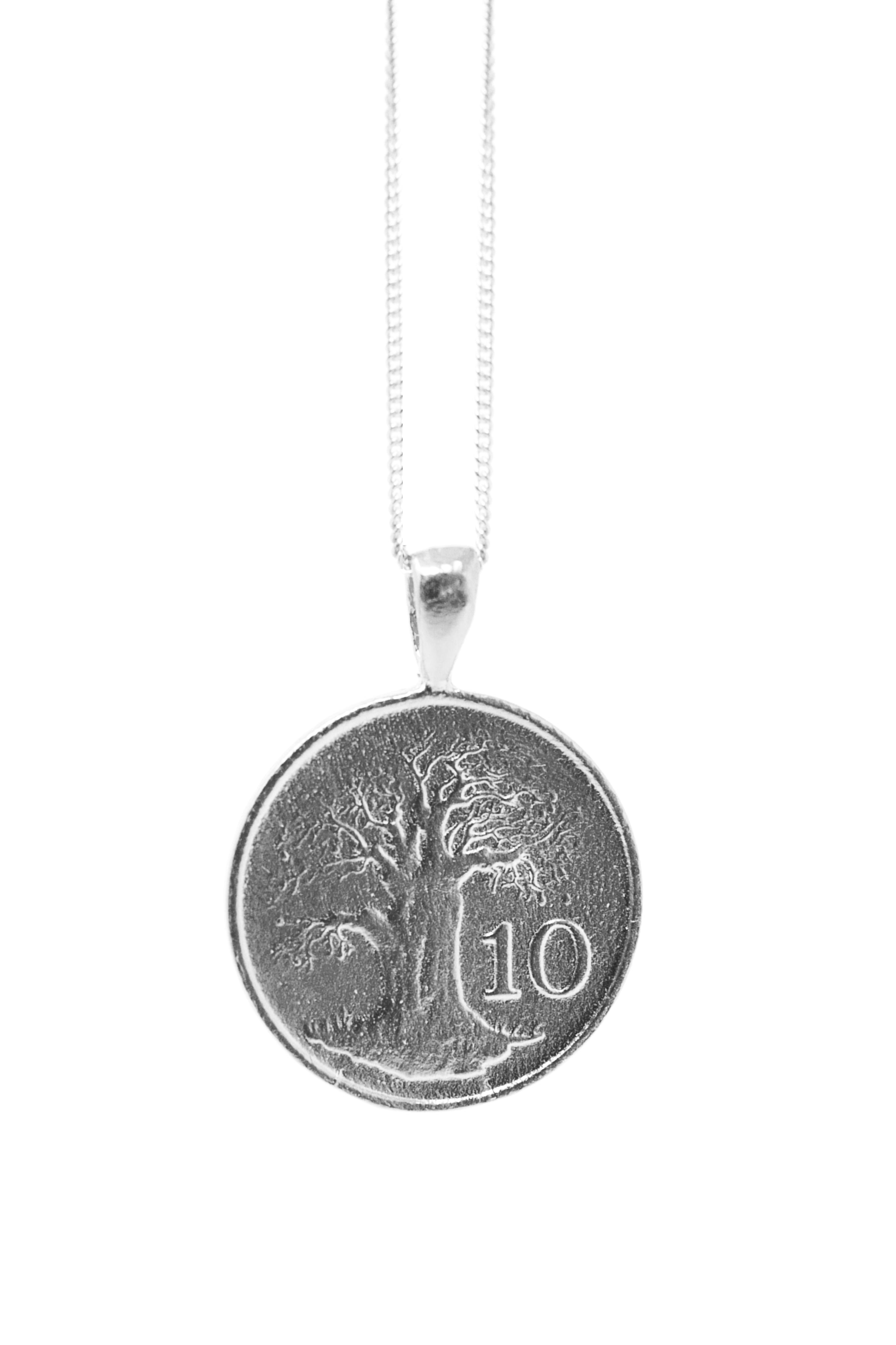 THE ZIMBABWE Bird and Baobab Coin Necklace