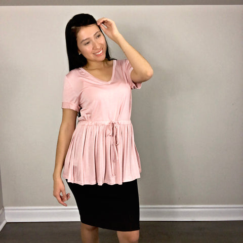 Light pink blouse, short sleeves top with v-neck line folded sleeves