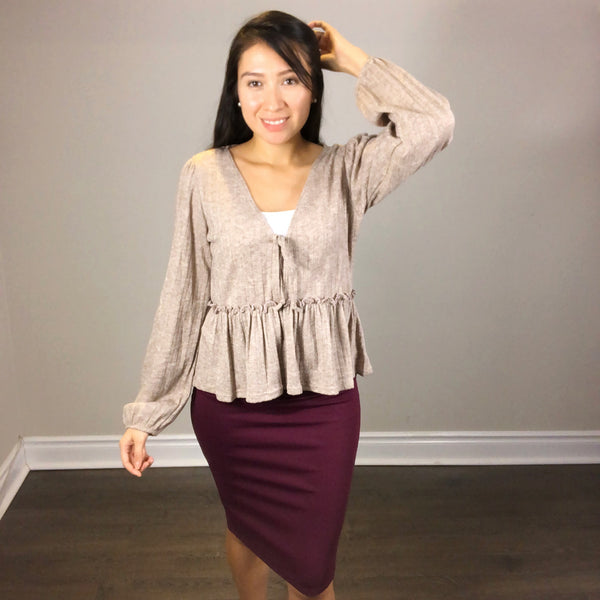Dark oatmeal blouse with frill detailing